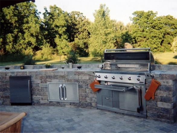 modern stoon outdoor kitchen design