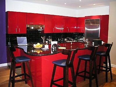 rot-schwarze Küche Top-schwarze Stühle-Design