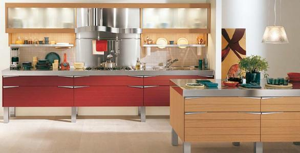 rot-braun-Küche-Design-Ideen