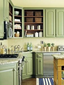green kitchen cabinets-country kitchen-wooden cabinets