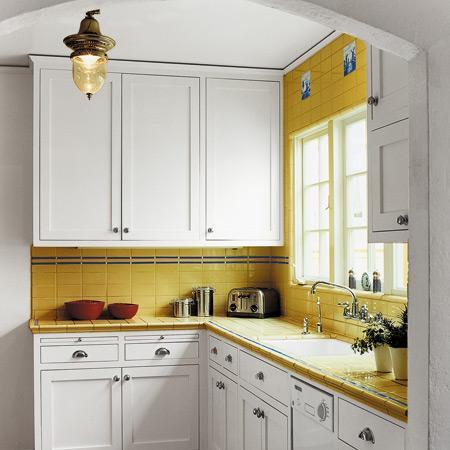classic small kitchen-wooden white cabinets- design ideas