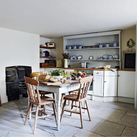 warm and cozy country kitchen-stone floor-wood table