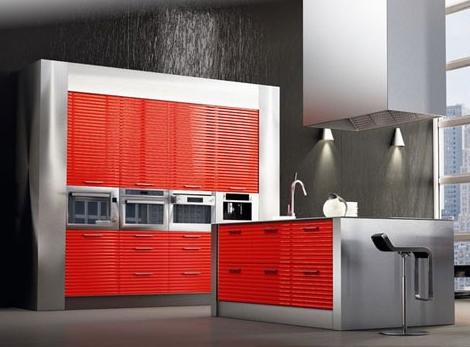 modern kitchen design in red -luxury kitchen island