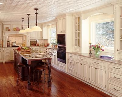 traditional white kitchen-dark wooden floor