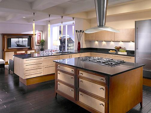 stone feng shui kitchen-wooden cabinets