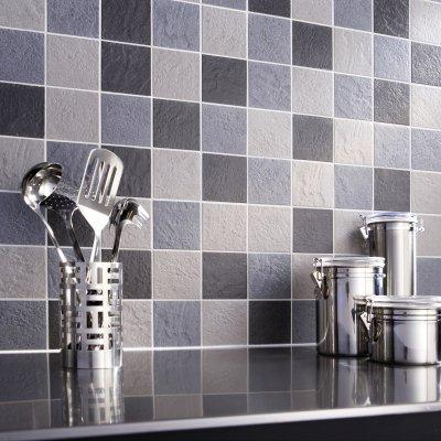wall tiles in the kitchen-blue and gray