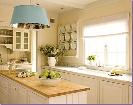 white kitchen cabinet with wood top -flowers-decoration