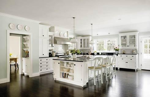classic white kitchen-dark wood floor